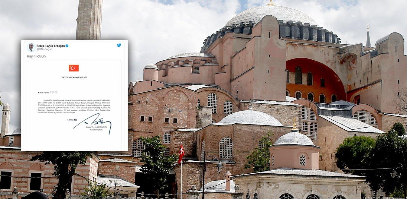 Αγία Σοφία: Υπέγραψε το διάταγμα ο Ερντογάν κι ευχήθηκε «καλορίζικο» το τζαμί