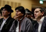 Alexis Tsipras speaks on the phone with Evo Morales