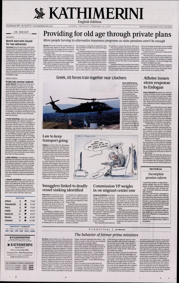 International New York Times Kathimerini - 20/02/2020