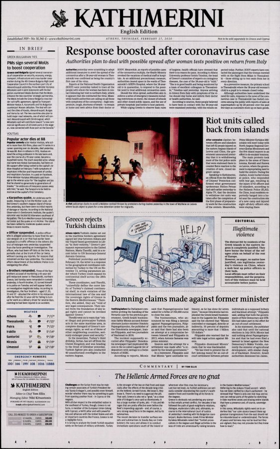 International New York Times Kathimerini - 27/02/2020