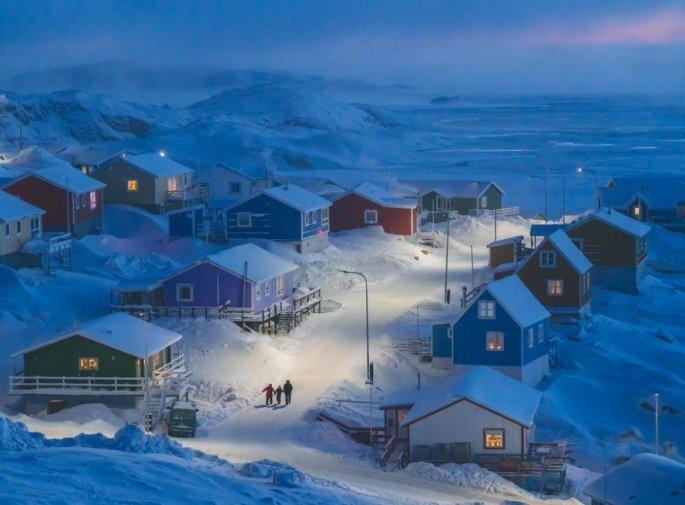 Χιονισμένο ψαροζώρι στη Γροιλανδία