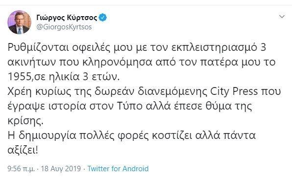 Tweet Γιώργου Κύρτσου