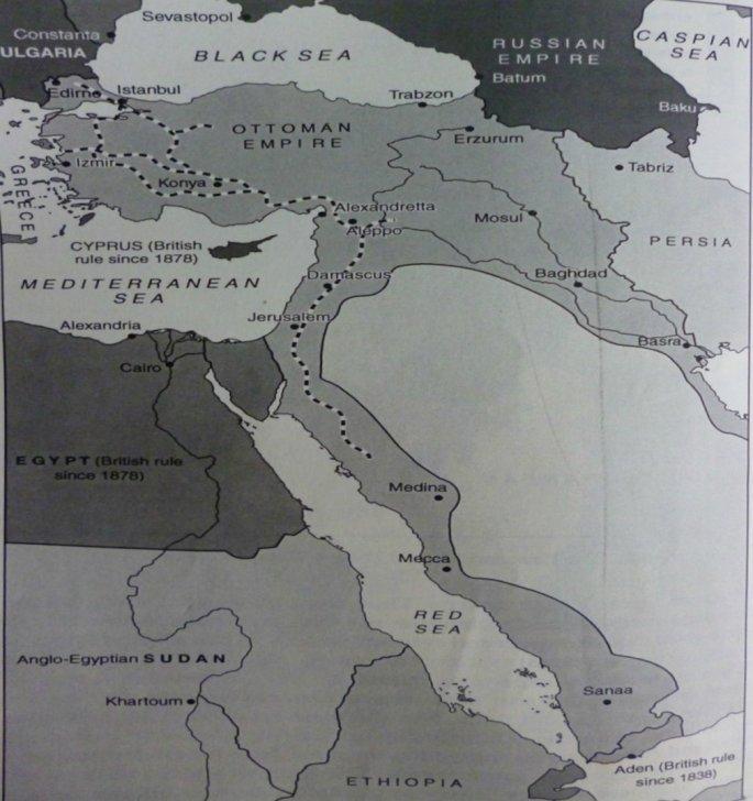 Τα σύνορα της Οθωμανικής Αυτοκρατορίας το 1914
