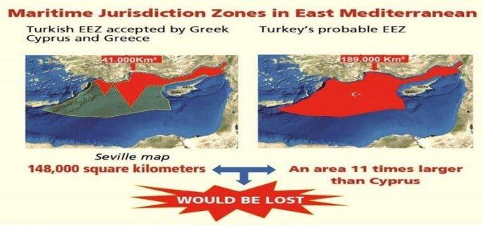Δεξιά ο τουρκικός χάρτης, δημοσιευμένος πριν από τον χάρτη της Α.Ο.Ζ. με την Λιβύη, απεικονίζει την Α.Ο.Ζ. που πρέπει να έχει η Τουρκία