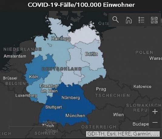 Περιπτώσεις κορονοϊού ανά 100.000 κατοίκους στα γερμανικά κρατίδια, με σκούρο μπλε φαίνεται ο υψηλότερος αριθμός / Ινστιτούτο Robert Koch