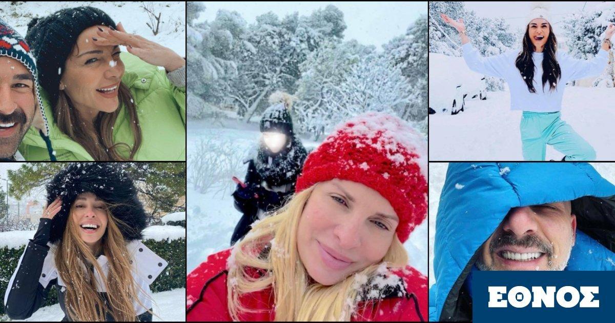 Αθήνα χιόνια: Οι Έλληνες celebrities ποζάρουν στα λευκά και παίζουν χιονοπόλεμο με τα παιδιά τους
