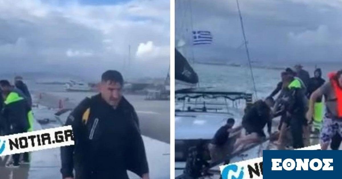 Κακοκαιρία Μπάλλος: Καρέ – καρέ η δραματική διάσωση επιβατών από καταμαράν – Συγκλονιστικό βίντεο